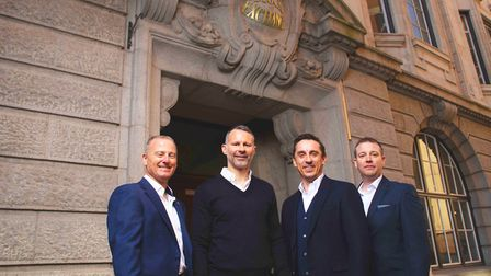 Co-owners Winston Zahra, Ryan Giggs, Gary Neville and COO Stewart Davies