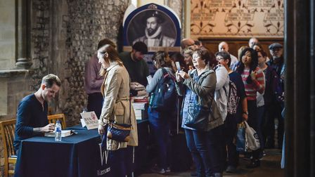 Visitors have books signed by Dan Jones at a previous event in Winchester (c) Steve Sayers