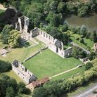 An aerial view of Bishop's Waltham Palace (Photo by Damian Grady/Historic England)