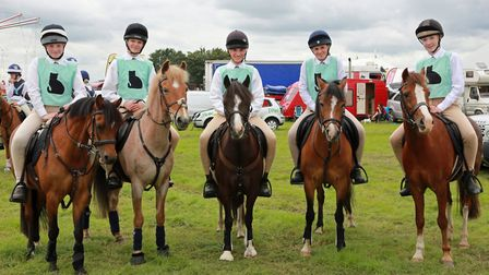 East Cheshire Black Cats Pony Club team; Lily Keep, Polly Walton, Dan Agnew, Lottie O'Donnelly and S