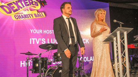 Mike Toolan presenting the auction and Lucy Meacock of ITV Granada Presenter hosting the event