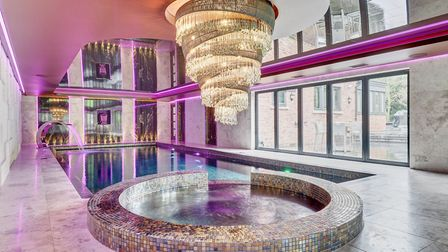 The fabulous pool complete with chadelier and mood lighting at Oak Hall, Wilmslow (c) Alex Reay