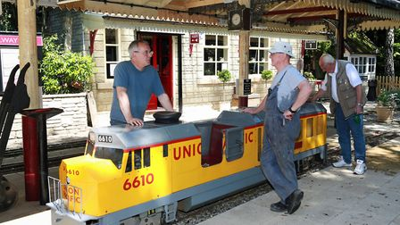 Volunteers, Andy Prior, Graham Speechley and Ron Fairclough at the Brookside Miniature Railway