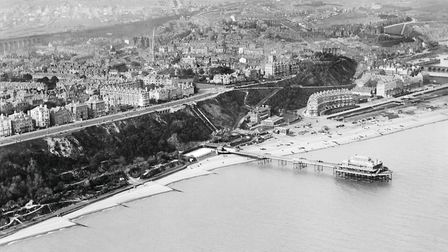 Folkestone from the air in the 1920s. This Aerofilms image shows the clifftop setting of the presti