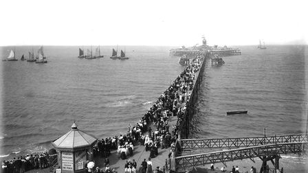 Promenading on Margate Pier. Designed by Eugenius Birch in the 1850s, to replace the earlier wooden