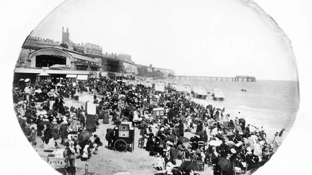 Ramsgate Sands at the turn of the 20th century. Note the bathing machines, and the old seafront rai