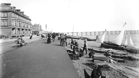 Deal promenade c.1900 with working boats drawn up on the beach (photo: Historic England)