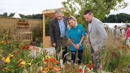 BBC North West Tonight presenter, Roger Johnson with Jackie Bramble of the Dianne Oxberry Trust, and