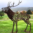 Bellowing stag made using old horseshoes looks majestic in this parkland setting (credit: Charles El