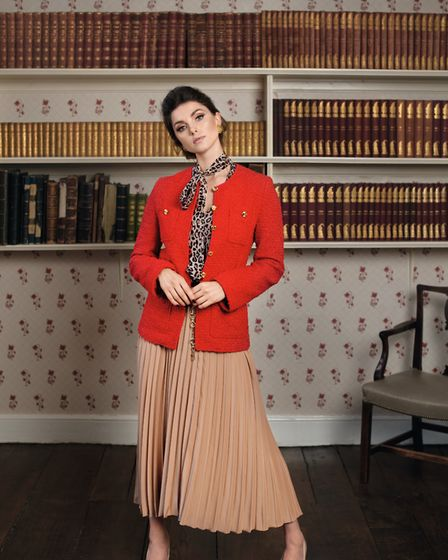 THE PUSSY-BOW BLOUSE - Rixo blouse, £175; Gucci tweed jacket, £2,500; Moncler pleated skirt, £285, s