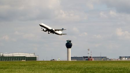 A plane takes off from Manchester Airport