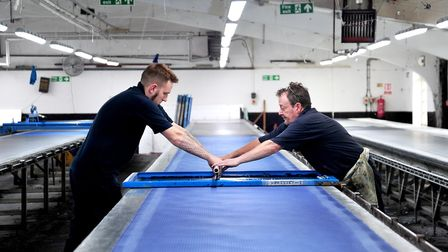 Matthew Brrokes and Neil Hayes at Adamley Textiles, Langley