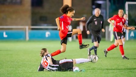 Tia Hoope from Southampton Women FC skips over a Maidenhead player (Photo by John Bilcliff)