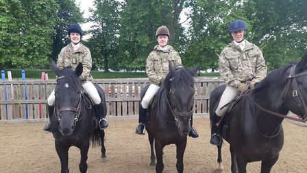C Squadron officers riding at Household Cavalry Mounted Regiment. Pictured are Lieutenant Oakeley, M