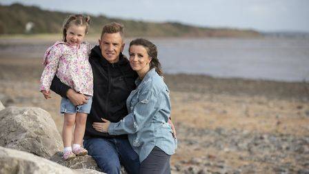 Ben Thexton with his wife Sian and four-year-old daughter, Erin. Picture Jason Roberts