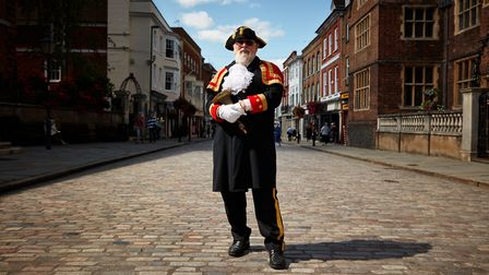 David Peters, the Guildford Town Crier, pictured in the High Street, Guildford