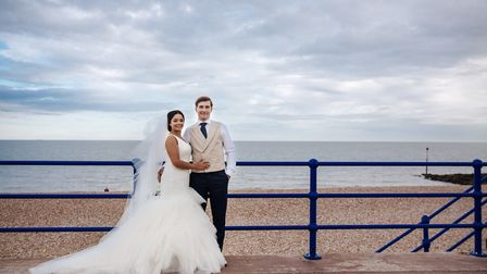 Megan and James made the most of the seafront setting for their ceremony this year at the Hythe Impe