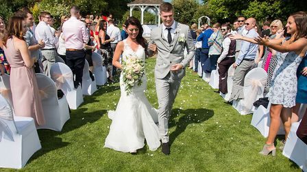 Enjoy an outdoor wedding ceremony at The Blazing Donkey
