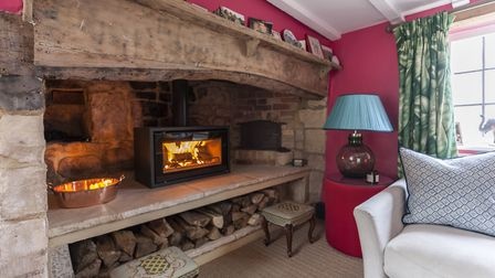The inglenook fireplace which Fred discovered. It looks cosier and less overpowering by having the l