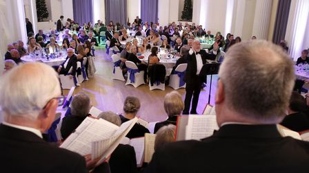 Gloucester Choral Society performing at Sue Ryder Leckhampton Court Winter Ball 2018 in the Pittvill