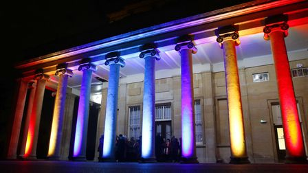 The Pittville Pump Rooms illuminated for the Sue Ryder Leckhampton Court Winter Ball. Photo credit: