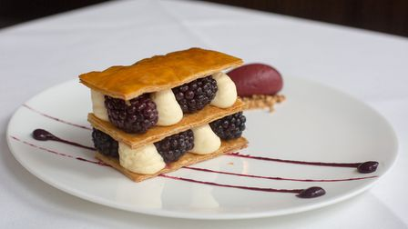 Kentish blackberries adorn this dainty mille-feuille (photo: Manu Palomeque)