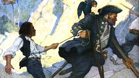 Long John Silver from a 1911 edition of Treasure Island (author NC Wyeth, permission PD-OLD-60-1923)
