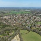An aerial view of the West Sussex village of Cophthorne