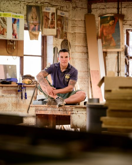 Powe lifter Helen Hughes at her workplace as a carpenter in Tangmere.