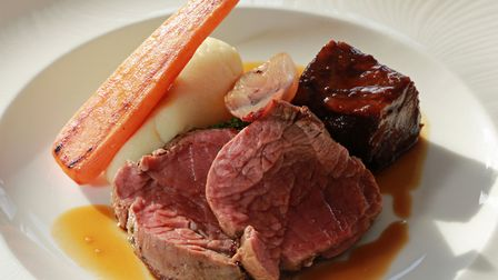 48 day aged Hereford beef loin & rib with roasted garlic creamed mash with Burgundy sauce