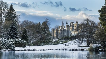 Snow at Sheffield Park and Garden, East Sussex. House not owned by National Trust.