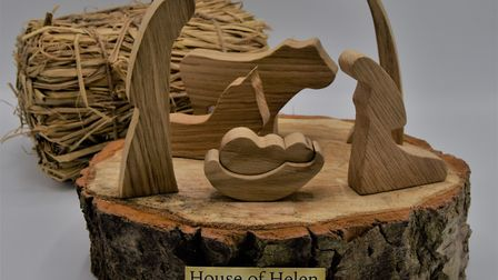Christmas crafts, including handcrafted wooden nativity ornaments, by House of Helen