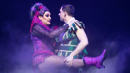 Craig Revel Horwood (Wicked Queen) & Joshua St Clair (Prince Harry) Photo: Phil Tragen