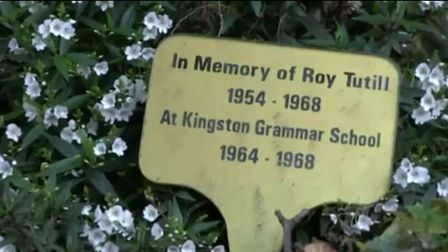 The only known memorial to 14-year-old Roy Tutill, who was murdered in Leatherhead in April 1968, wh