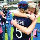 Clare Connor hugs Heather Knight of England during the ICC Women's World Cup 2017 Final between Engl