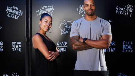 Anna Samuels with her business partner Louis Rennocks who's a qualified personal trainer and fitness