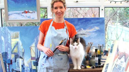 Sarah Connell, in her home studio (with Monty the cat)