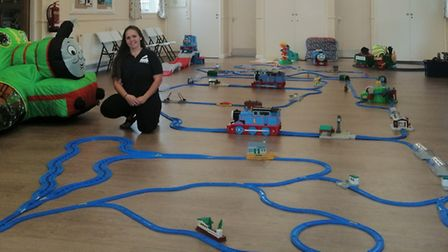 Chloe Cotton, founder of Trainmaster, with one of her village hall set-ups