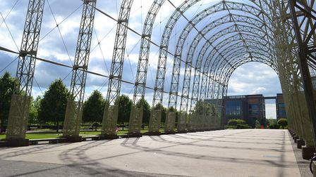 A listed airship hangar frame on Farnborough's business park soars cathedral-like (alternative)
