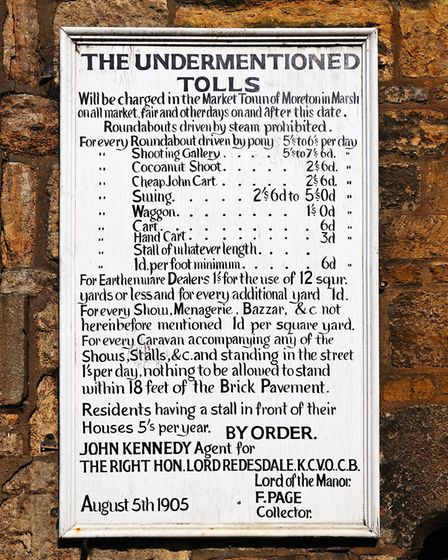 Old toll charges in 1905, Moreton-in-Marsh (photo: CaronB)