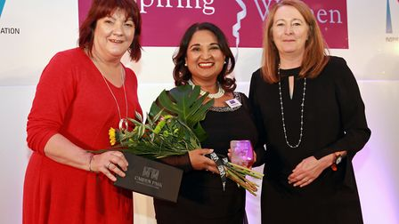 Organiser, Jacqueline Hughes Lundy, with Business category winner, Dr Shikha Pitalia, and Heather Cr