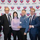 Arighi Bianchi The Christie David Rutley MP, Dr Andrew Sykes, Andrea Oldham, Christie patient Keith