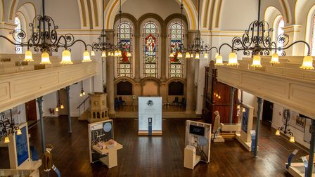 The exhbition space at the renovated chapel at Royal Victoria Country Park