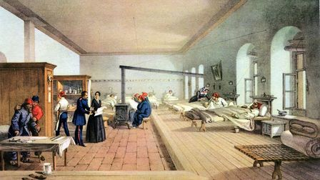 Illustration of Florence Nightingale inspecting a hospital ward during the Crimean War Photo: Getty