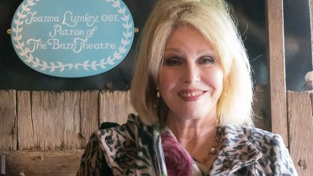 Joanna Lumley, OBE, next to her plaque displayed in the Barn Theatre (photo: National Trust/Peter Mo