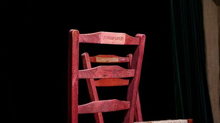 Joanna Lumley's Patron chair in the Barn Theatre (photo: National Trust/Peter Mould)