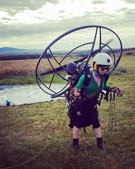 Katy prepares to launch on her second ever solo paramotor flight, in Figueres, Spain, under instruct