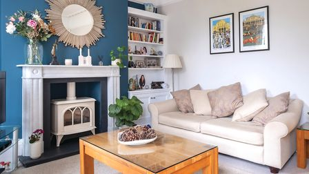 The Teal paint is from Neptune Home. The mirror is from Laura Ashley, and the sofas from Cavendish H