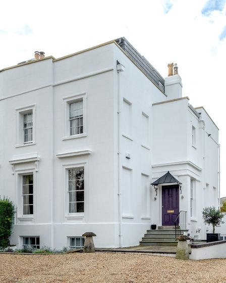 The impressive 1830s Regency villa which the Buckinghams rescued. The new rendering is by Harbor