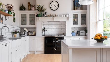 The cabinetry was handmade and hand-painted in Farrow & Ball's 'All White' by Woodchester Cabinet Ma